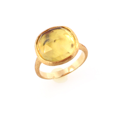 anello bicego oro giallo e citrino lemon