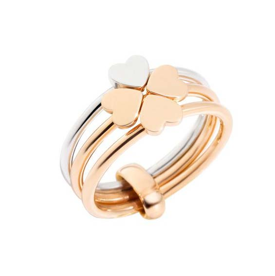 Anello Dodo Lucky in love oro rosa e argento