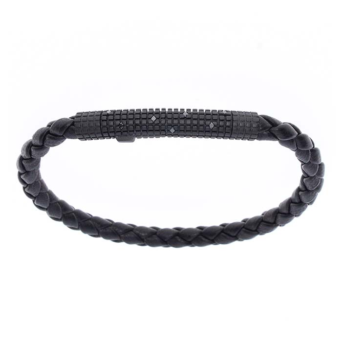 Bracciale Damainia argento br. pelle brillanti black